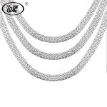 WK 1 Piece Vintage 925 <b>Silver</b> Boys Mens Snake Chain <b>Necklace</b> Hip Hop Punk Male Chains Jewelry 18 20 Inch 4MM 5MM 6MM W4 NM008