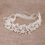 YYW Women Imitation White Pearl Flower Tiara Boho Bridal Head Accessories Hair <b>Jewelry</b> For Wedding Bridal Gifts Organza Hairband