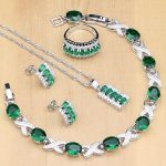 Silver Color <b>Jewelry</b> Oval Green Created Emerald White CZ <b>Jewelry</b> Sets For Women Earrings/Pendant/<b>Necklace</b>/Rings/Bracelet T225