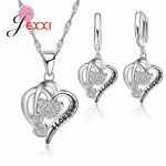 JEXXI Real 925 Sterling Silver Best Valentine's Day Gifts For Girlfriend Romantic Love Letters Carved Zircons <b>Jewelry</b> Sets