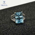 TBJ,Big Blue topaz gemstone Ring 8ct emerald concave shinning cut topaz ring in 925 sterling <b>silver</b> gemstone <b>jewelry</b> with box