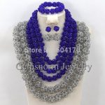 Terrific Blue/Grey Nigerian Beads <b>Jewelry</b> Set <b>Handmade</b> Crystal Beads Necklace Set High Quality Free Shipping GS771
