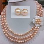 Perfect Pearl Jewelry Set 17-19inch 3 Rows 6-7mm Pink Freshwater Pearl <b>Necklace</b> Earrings Set Shell Flower Clasp