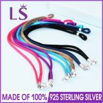 LSLuxury 100% 925 Sterling <b>Silver</b> Colored FABRIC CORD <b>Bracelets</b> Fit Original Beads Charm.Women Fashion Jewelry Gift Pulseras.W