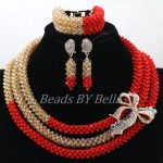 <b>Handmade</b> Beaded Nigerian Wedding <b>Jewelry</b> Set Amazing Red Bridal Crystal Necklace Set Dubai Gold Jewellery Free Shipping ABK899