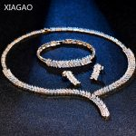 XIAGAO Luxury Leaf Crystal Brides <b>Jewelry</b> Sets Gold Color Rhinestone <b>Necklace</b> Earring Bracelet Sets Wedding <b>Jewelry</b> for Women
