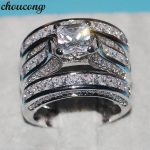choucong Dropshipping <b>Handmade</b> Women Men <b>Jewelry</b> 3-in-1 Wedding ring 925 Silver Princess cut 5A Zircon Cz Engagement Band Rings