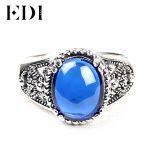 EDI Women/Men Vintage Blue Corundum Jade 925 Sterling Thai <b>Silver</b> Rings Cloisonne <b>Jewelry</b> Filigree Round Retro <b>Jewelry</b> JZ119H