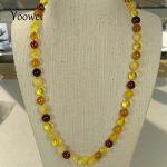 Yoowei 50cm 18g Natural Amber Necklace Original Genuine Round Beads Women Gift Baltic Amber <b>Jewelry</b> Necklace <b>Supplies</b> Wholesale
