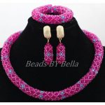 Wholesale Beads Nigerian Choker <b>Necklace</b> for Women Lace Jewlery Set Fushia Crystal African Jewellery Sets Free Shipping ABK919