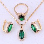2017 New product Green Simulated Emerald & Cubic Zircon Yellow Gold Color <b>Fashion</b> <b>Jewelry</b> Sets For Women Party Trendy E0005