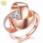 HUTANG Natural White Topaz Solid 925 Sterling <b>Silver</b> Rose Gold-color Eternity Flower Ring Gemstone Fine <b>Jewelry</b> Women Best Gift