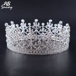 Snuoy Full Round Queen Crown <b>Wedding</b>/Birthday Rhinestone Circle Tiaras and Crowns Prom Halo Female Hair <b>Jewelry</b> for Brides HG203