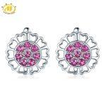 Hutang Natural Rhodolite Garnet <b>Earring</b> 925 Sterling <b>Silver</b> Gemstone Stud <b>Earrings</b> Heart Flower <b>Earrings</b> Love Gift Fine Jewerly