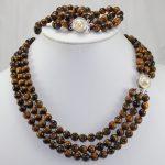 Women's Wedding wholesale tiger eye stone 17″ brecelet & 20″ necklace set real silver-<b>jewelry</b>