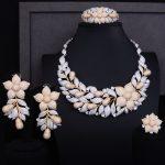 GODKI Luxury Rose Flower Cluster Floral 2 Tone Women Wedding Cubic Zirconia Statement <b>Necklace</b> Earring Bangle Ring <b>Jewelry</b> Set