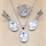 925 Silver Bridal <b>Jewelry</b> White Stone Beads <b>Jewelry</b> Sets For Women Party <b>Accessories</b> Earrings/Pendant/Necklace/Rings