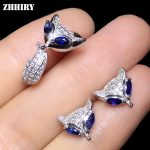 ZHHIRY Genuine Natural Sapphire 925 Sterling <b>Silver</b> Fine Jewelry Sets Rings <b>Earrings</b> For Women Real Gemstones