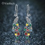 YinShiJi Silver 925 Earrings Vintage Peacock Earrings Colorful Retro 100% Sterling Silver <b>Jewelry</b> For Women Natural Stone