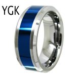 YGK <b>Wedding</b> <b>Jewelry</b> Lover's Ring Silver Bevel With Blue Center New Tungsten Ring Bridegroom <b>Wedding</b> Engagement Anniversary Ring