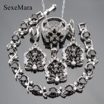 <b>Wedding</b> Bridal Stone <b>Jewelry</b> Sets Women Silver 925 Costume <b>Jewelry</b> Black Zirconia Earrings Rings Bracelet Necklace Set Gift Box