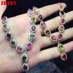 Women Natural Tourmaline Gems Necklace Pendant <b>Jewelry</b> 925 <b>Sterling</b> <b>Silver</b> Pendant Necklace