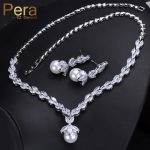 Pera Elegant Women Pearl <b>Jewelry</b> Set For Party Gift Big Leaf Shape Cubic Zirconia Long Dangle <b>Necklace</b> And Earrings J233