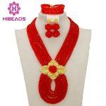 Hot New Bridal <b>Jewelry</b> Sets Red Nigerian Wedding African Beads <b>Jewelry</b> Set Crystal Fashion Gift <b>Necklace</b> Free Shipping ABJ880