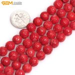 Gem-inside 8mm Natural Beads Carved Lotus Flower Red Pink White Coral Beads For <b>Jewelry</b> <b>Making</b> Beads 15inch DIY Beads Bracelet