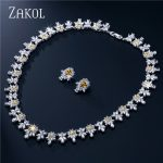 ZAKOL Top Quality Cubic Zircon Flower Shape <b>Jewelry</b> Sets Trendy Sliver Color Ladies <b>Jewelry</b> For Party Bijoux FSSP122