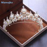 Mamojko New Baroque Handmade Pearl Rhinestone Bridal Tiaras Crowns Flower Pageant Bride Hair Accessories <b>Wedding</b> Diadem <b>Jewelry</b>