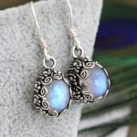 India Nepal 925 silver handmade <b>jewelry</b> inlaid natural stone carved blue moonlight maid Earrings