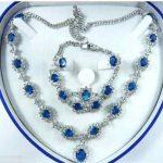 Women's Wedding Bridal Fashion Jewellery Women Set blue Zirconia Necklace Earring Ring Bracelet real silver –<b>jewelry</b>