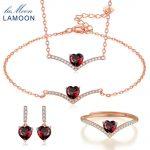 LAMOON 100% Natural Heart Red Garnet Gems 925 Sterling <b>Silver</b> Fine Jewelry Sets Ring+<b>Earrings</b>+Necklace+Bracelet for Women V004-1