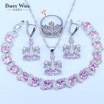 Princess Pink Crown Shape 925 Stamp <b>Silver</b> Color Jewelry For Women Pretty Gift <b>Bracelets</b> Pendant Drop Earrings Rings Sets