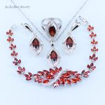 L&B Women <b>Silver</b> Color Jewelry Sets Red Created Garnet White Zircon <b>Bracelets</b> Pendant Necklace Earrings Ring