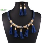6 Color Dark Blue Tassel Pendant Leather Necklaces Statement Choker For Women <b>Jewelry</b> <b>Antique</b> Tribal Ethnic Alloy mujer bijoux