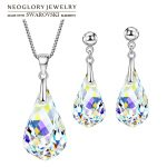 Neoglory MADE WITH SWAROVSKI ELEMENTS Crystal Jewelry Set Water Drop Style S925 <b>Silver</b> Plated For Women Gift <b>Necklace</b> & Earrings