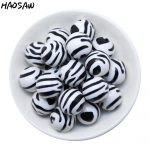 Fashion DIY <b>Handmade</b> Bead <b>Jewelry</b> 100Pcs/Lot 20MM White&Black Color Round Acrylic Zebra Printed Beads For DIY Chunky <b>Jewelry</b>