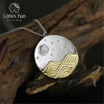 Lotus Fun Real 925 <b>Sterling</b> <b>Silver</b> Natural Handmade Fine <b>Jewelry</b> The Moonlight Design Pendant without Chain Acessorios for Women