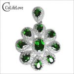 Classic <b>silver</b> gemstone pendant luxury Natural diopside pendant for woman solid 925 <b>silver</b> russian emerald <b>necklace</b> pendant