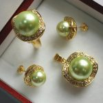 Prett Women's Wedding noble <b>jewelry</b> set 10mm green shell pearl,ring, pendant & stud earring