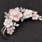 SINZRY elegant <b>jewelry</b> accessory AAA cubic zircon micro paved natural shell pearl brooch pin lady scarves buckle