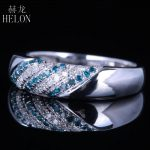 HELON Genuine Natural Diamonds & Blue Diamonds Ring 925 <b>Sterling</b> <b>Silver</b> Two Color Diamonds Wedding Engagement Fine <b>Jewelry</b> Ring