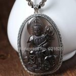 925 <b>Sterling</b> <b>Silver</b> 63x45mm Natural Ice Obsidian Carved PuXian Buddha Amulet Lucky Pendant + Beads Necklace Fashion <b>Jewelry</b>