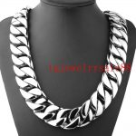 Heavy Huge 31mm Wide Stainless Steel Casting High Quality Cuban Curb Link Chain Mens <b>Bracelet</b> Or Necklace Polishing <b>Silver</b> 8-40″