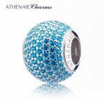 ATHENAIE 3 Colors Genuine 925 <b>Silver</b> with Pave Blue CZ Ocean Love Charm Beads Fit All European <b>Bracelets</b> Necklace