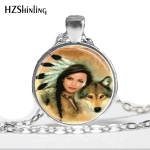 Fashion Necklaces For Women 2014 Wolf Necklace <b>Native</b> <b>American</b> Woman with Wolf Glass Tile <b>Jewelry</b> Necklace Glass Dome Pendant