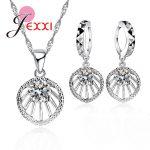 JEXXI 925 Sterling Silver <b>Jewelry</b> Sets A+++ Cubic Zirconia Pendant <b>Fashion</b> Pendant Chain Set For Women Wedding Decoration