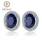 Gem's Ballet 4.04t Oval Natural Blue Sapphire Gemstone 925 Sterling <b>Silver</b> Stud <b>Earrings</b> With Jackets Fine Jewelry for Women
